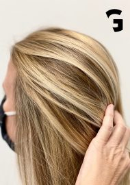golden blonde hand painted balayage