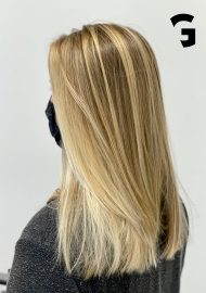 golden hair hand painted balayage